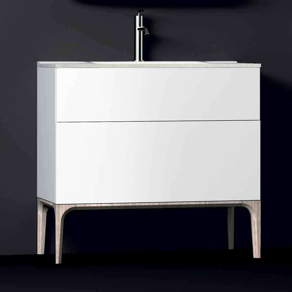 Meuble de salle de bain avec lavabo moderne int gr ambre r sine et bois laqu - Meuble de salle de bain avec miroir integre ...