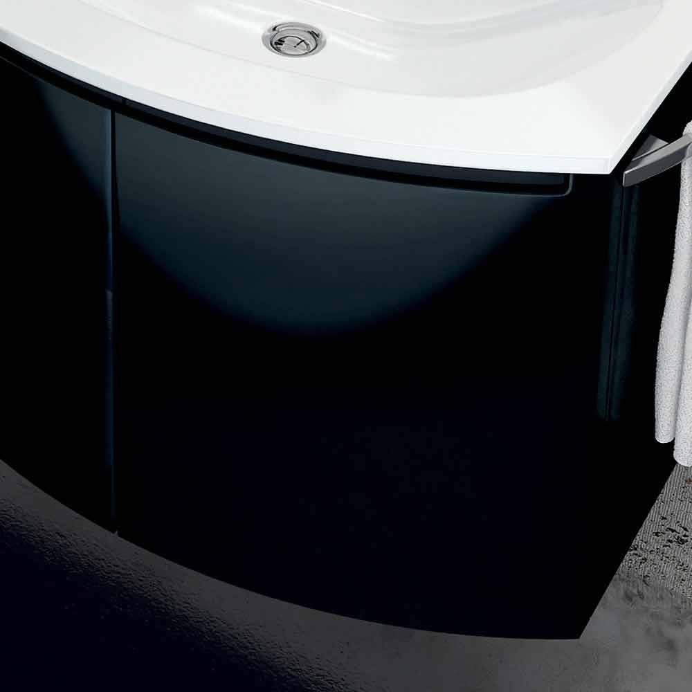 meuble de salle de bain moderne avec lavabo trois portes en bois laqu noir gioia. Black Bedroom Furniture Sets. Home Design Ideas