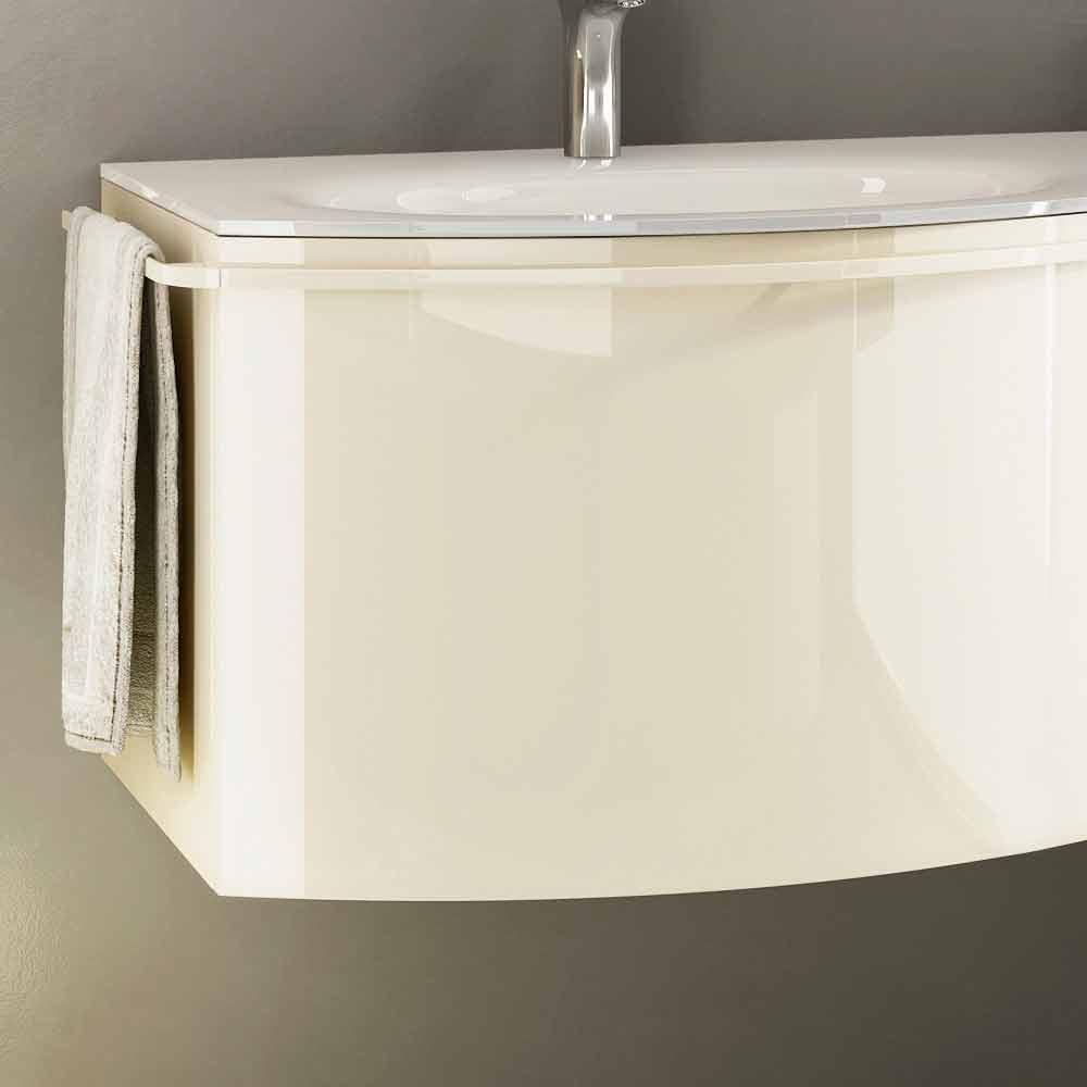 Meuble de salle de bain suspendu moderne avec lavabo en bois laqu beige gioia 1 - Meuble salle de bain beige ...
