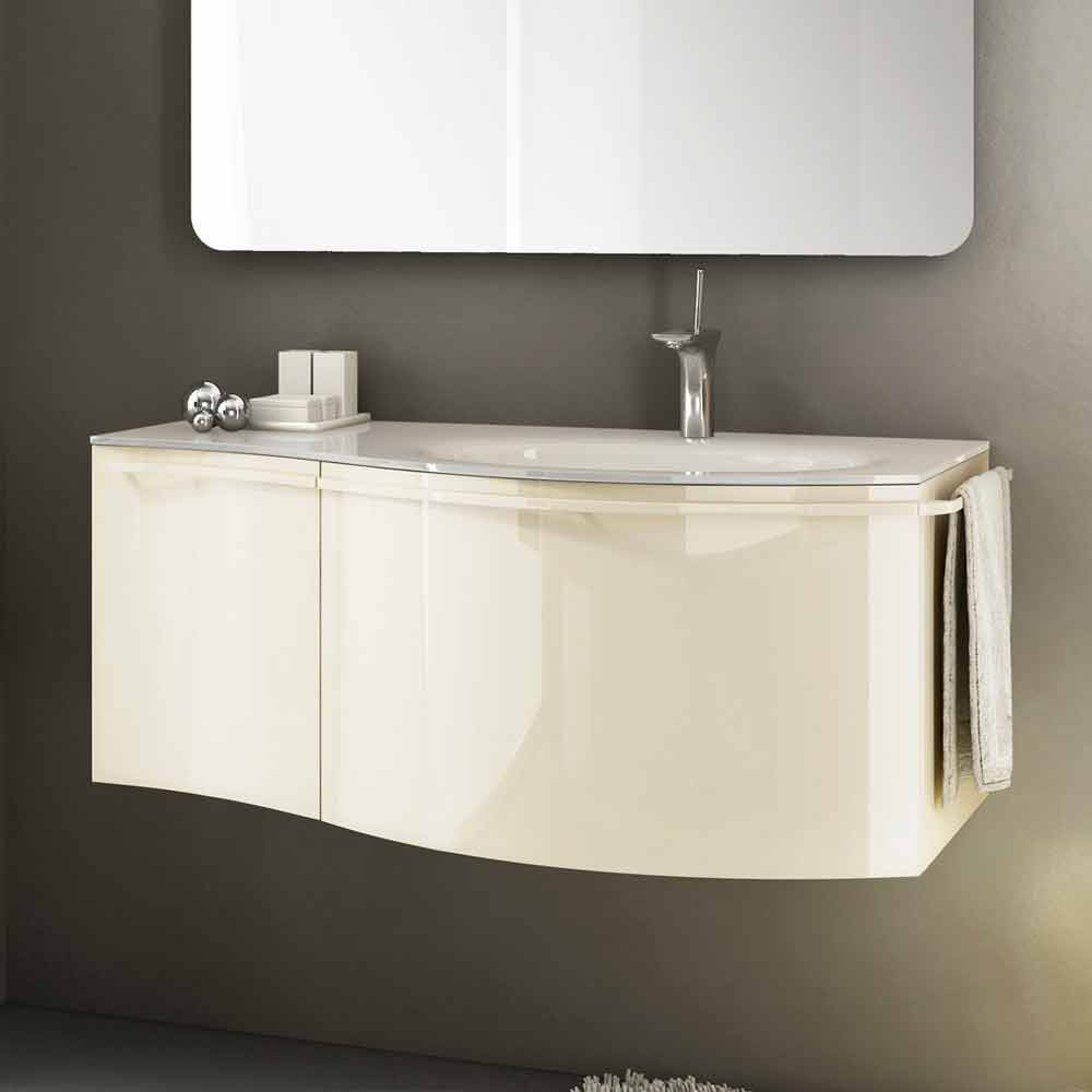 meuble de salle de bain suspendu moderne avec lavabo en bois laqu beige gioia 1. Black Bedroom Furniture Sets. Home Design Ideas