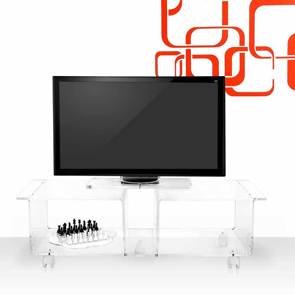 Meuble TV de design moderne en plexiglas transparent Mago Double ...
