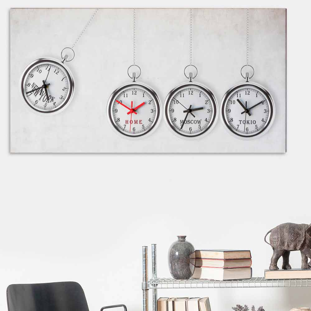 grand horloge murale de design moderne avec 4 fuseaux horaires joseph. Black Bedroom Furniture Sets. Home Design Ideas
