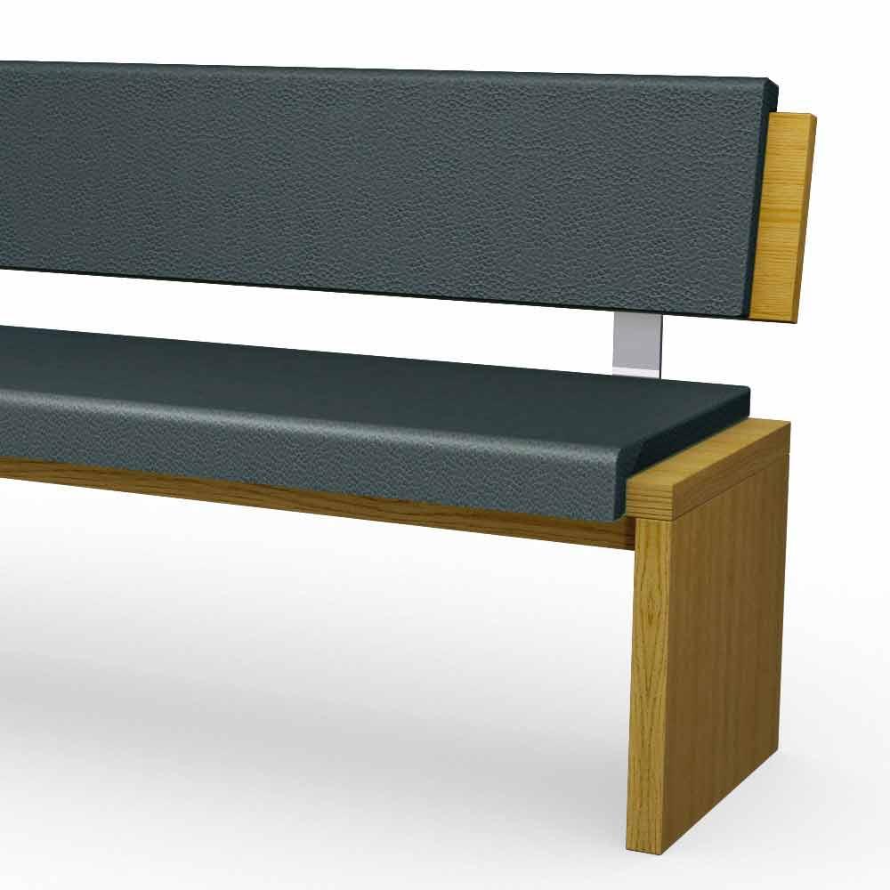 banc moderne en bois de ch ne rembourr en co cuir noir misty. Black Bedroom Furniture Sets. Home Design Ideas