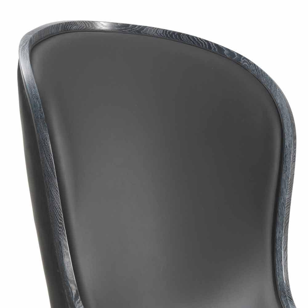 Fauteuil de salon cuir et fourrure noir eli design classique de luxe Decoration noir or luxe classe