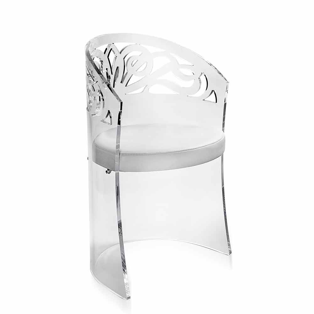 fauteuil en plexiglas transparent et faux cuir iside fait en italie fauteuils viadurini. Black Bedroom Furniture Sets. Home Design Ideas