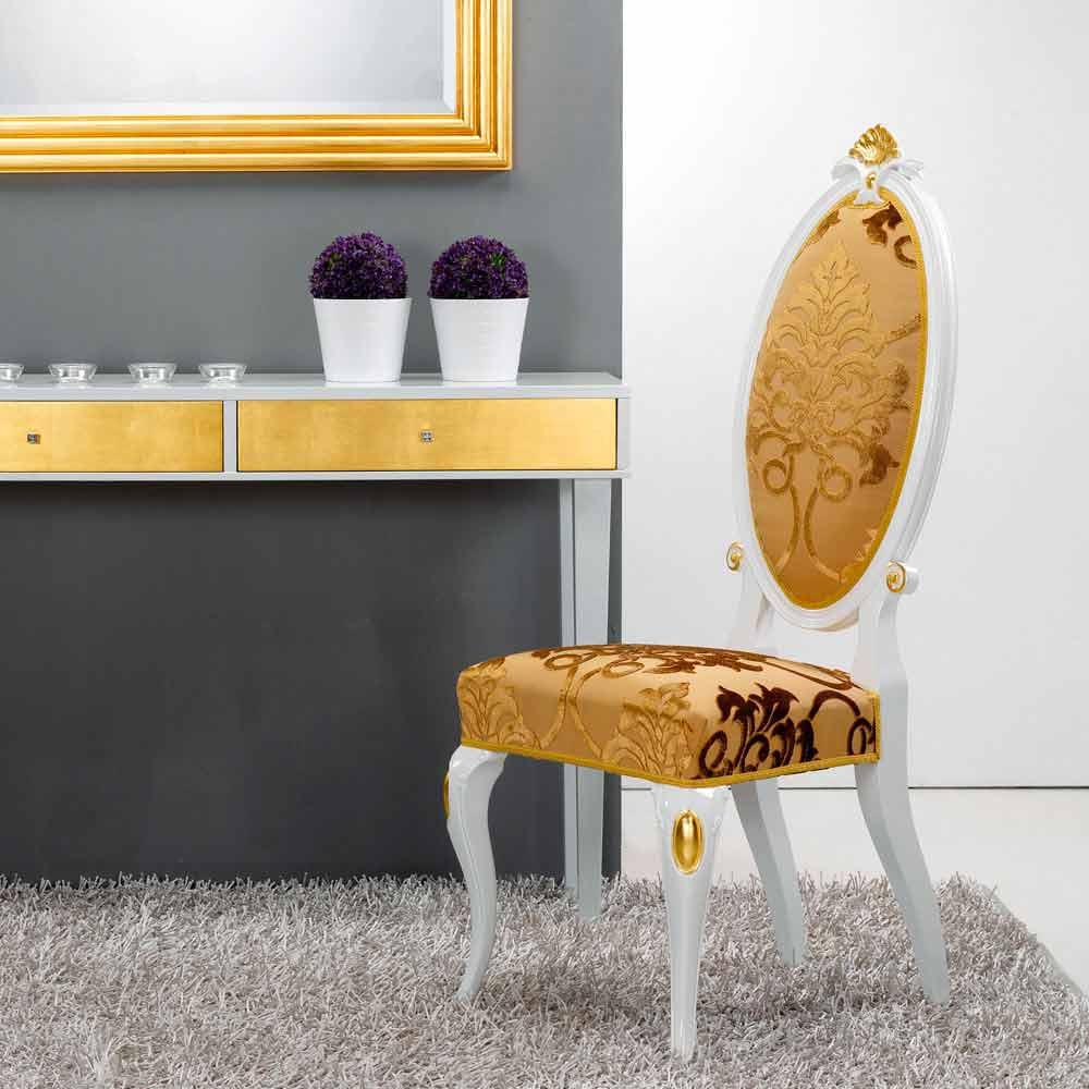 Chaise en bois design classique d coration en feuille d 39 or tristan - Feuille d or decoration ...