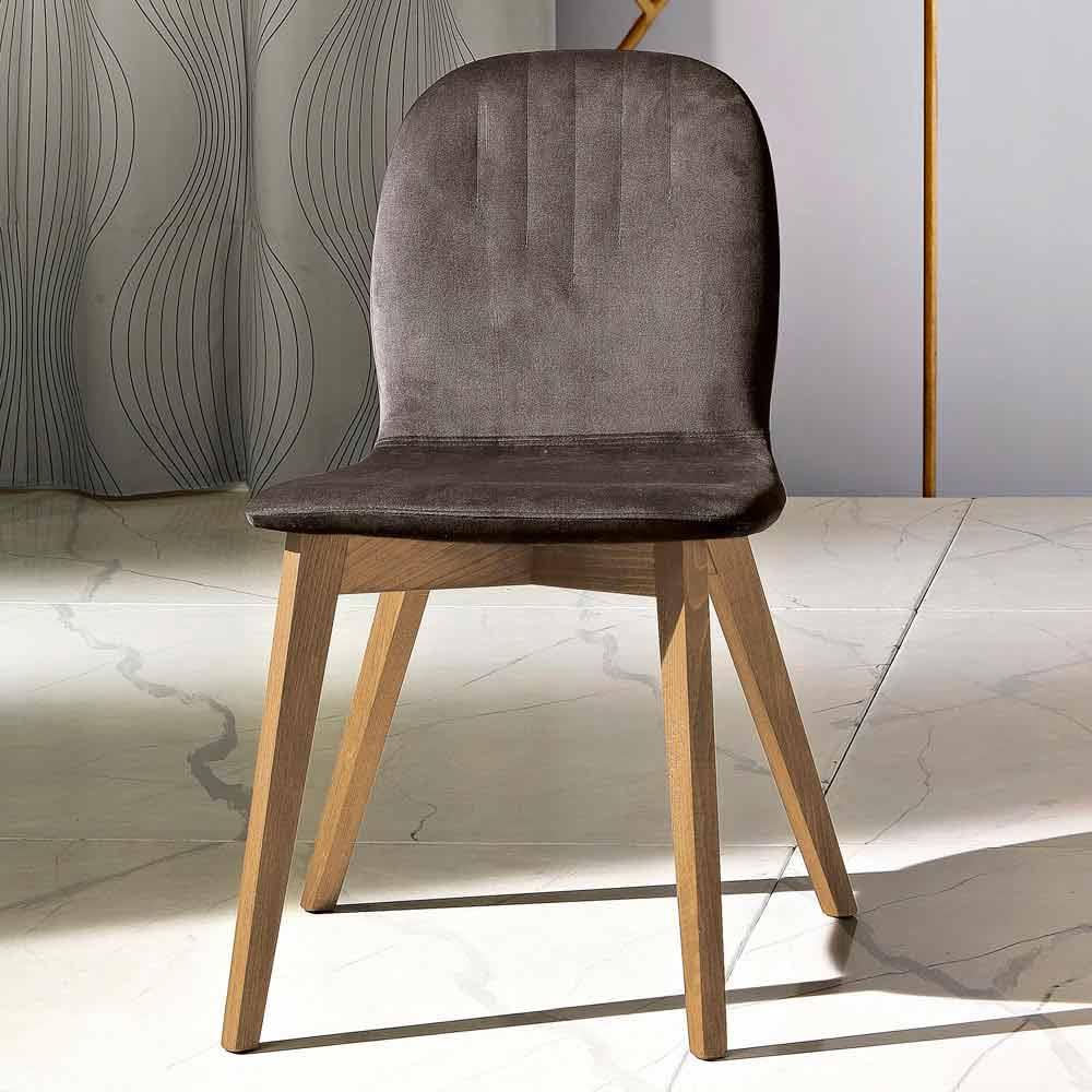 Chaise design moderne en velours et bois faite en Italie, Carola