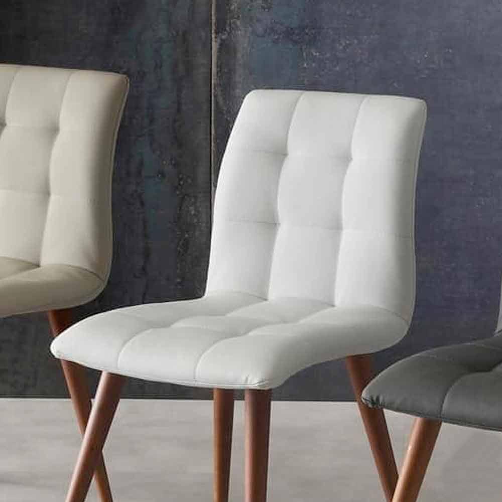chaise en bois massif et cuir cologique viola de design moderne. Black Bedroom Furniture Sets. Home Design Ideas