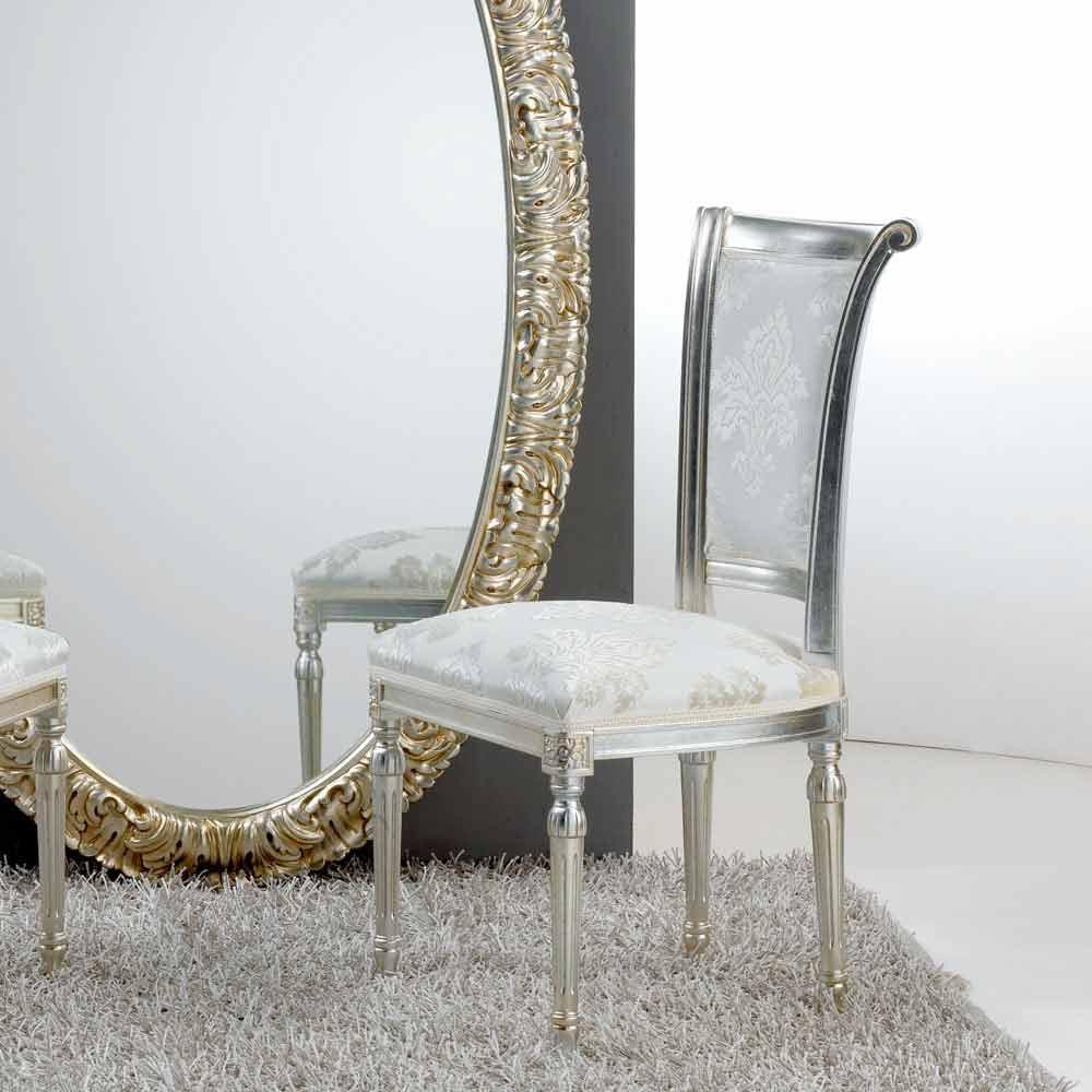 chaise design classique en bois avec pieds argent antique miel. Black Bedroom Furniture Sets. Home Design Ideas