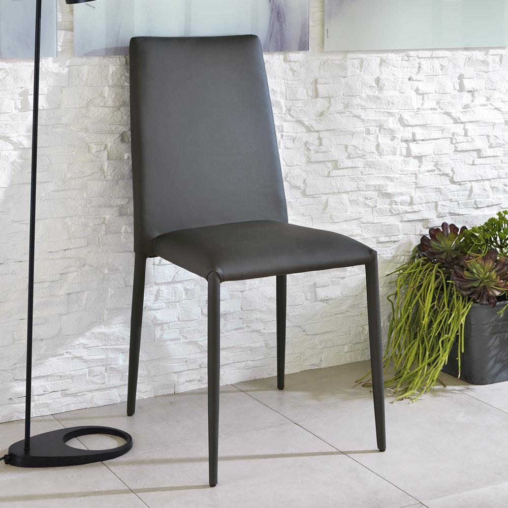 Set de 4 chaises modernes en simili cuir dora for Sedie imbottite grigie