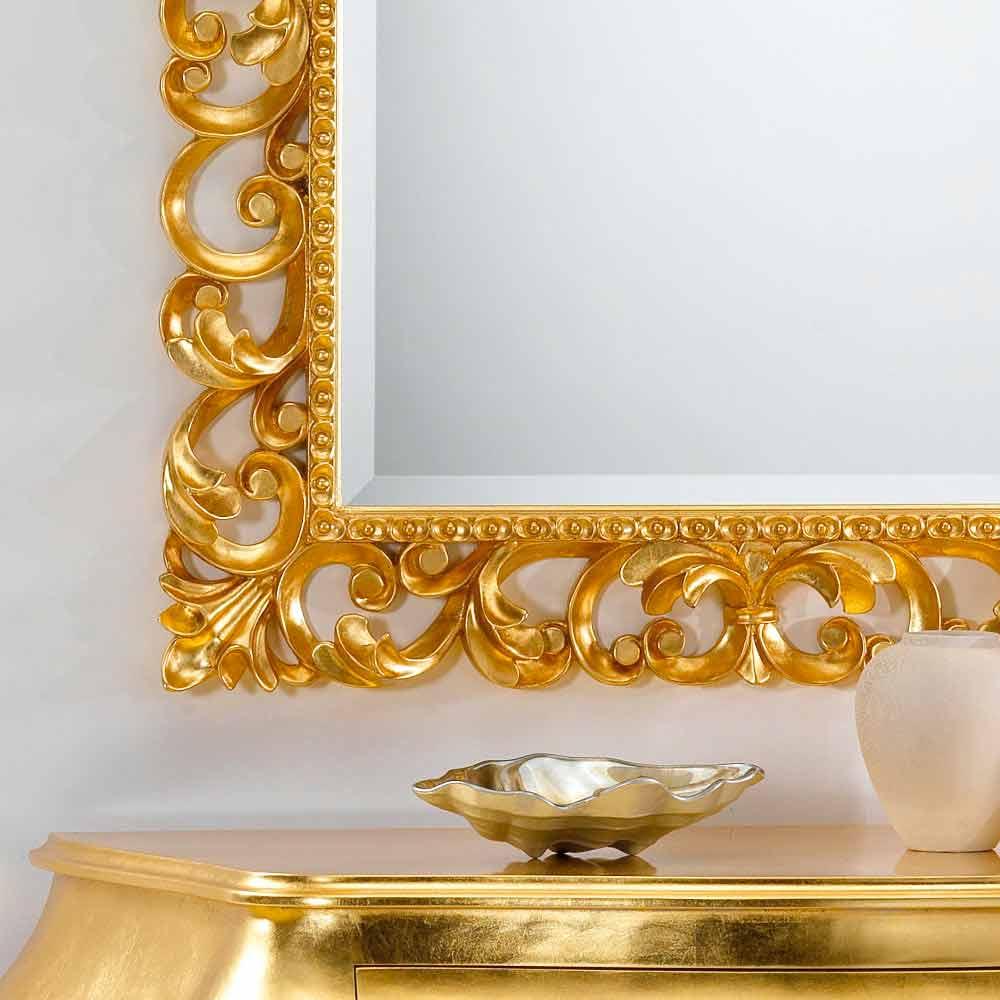 Miroir mural design classique avec finition en feuille d for Miroir venitien paris