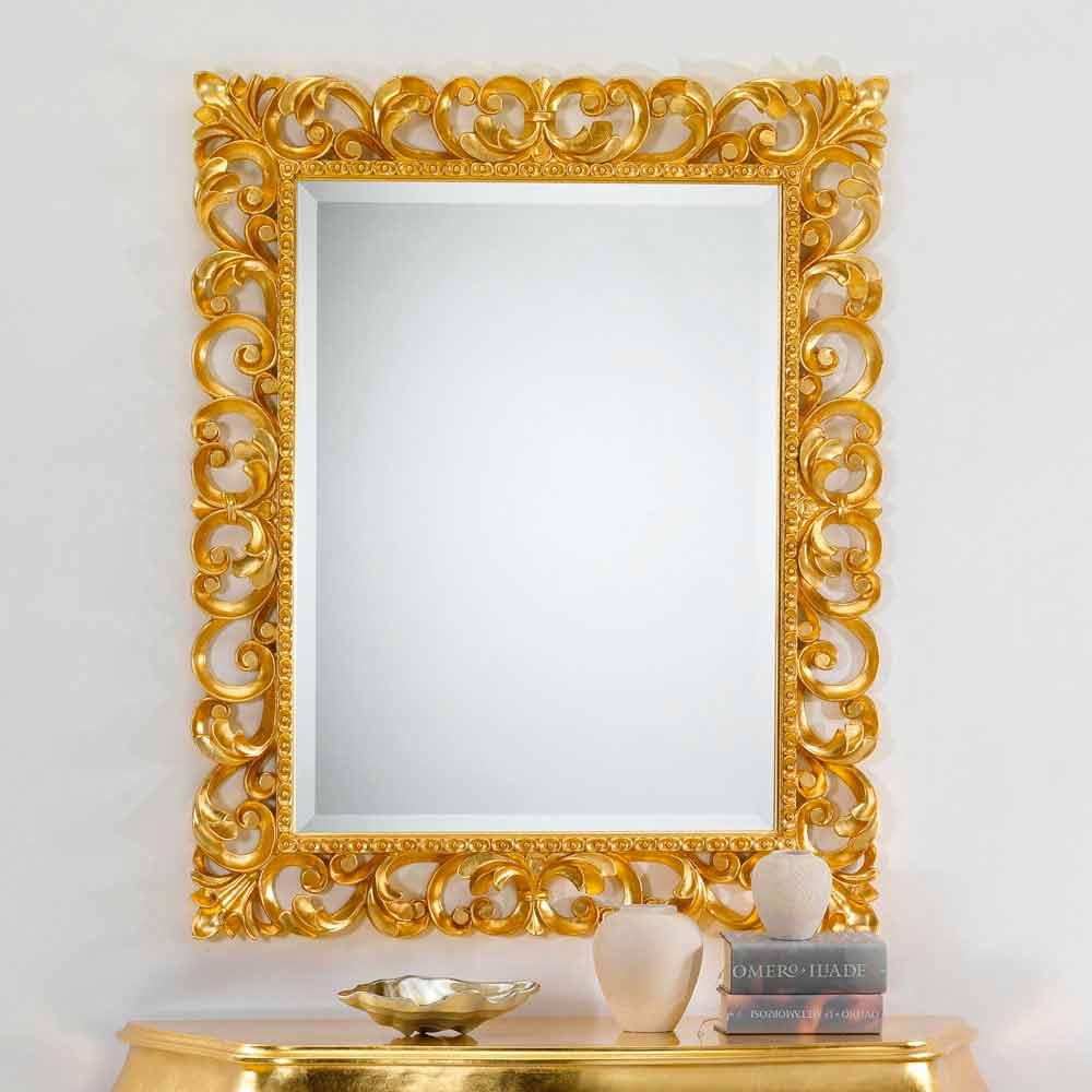 Miroir mural design classique avec finition en feuille d - Miroir horizontal mural ...