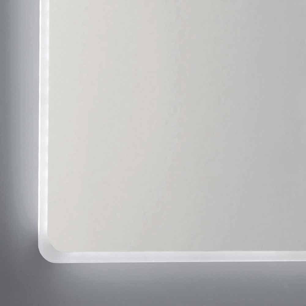 Miroir mural avec bords satin s clairage led tessa for Miroir horizontal mural
