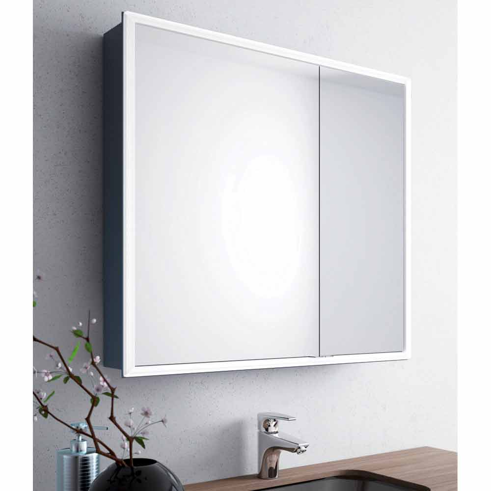 miroir mural moderne 2 portes clairage led adele. Black Bedroom Furniture Sets. Home Design Ideas