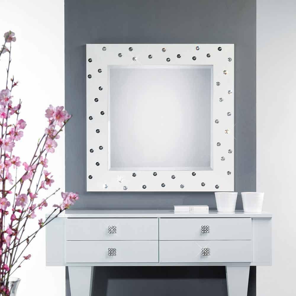 miroir blanc mural avec d coration en cristal swarovsky tiffany. Black Bedroom Furniture Sets. Home Design Ideas