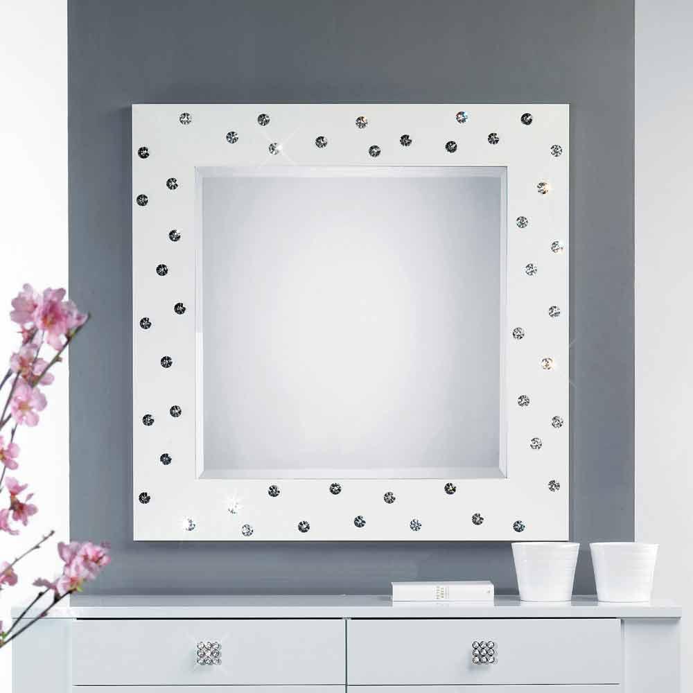 Miroir blanc mural avec d coration en cristal swarovsky - Deco avec miroir mural ...