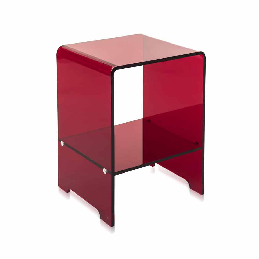 table d 39 appoint rouge transparente mimi faite en italie tables basses modernes viadurini. Black Bedroom Furniture Sets. Home Design Ideas