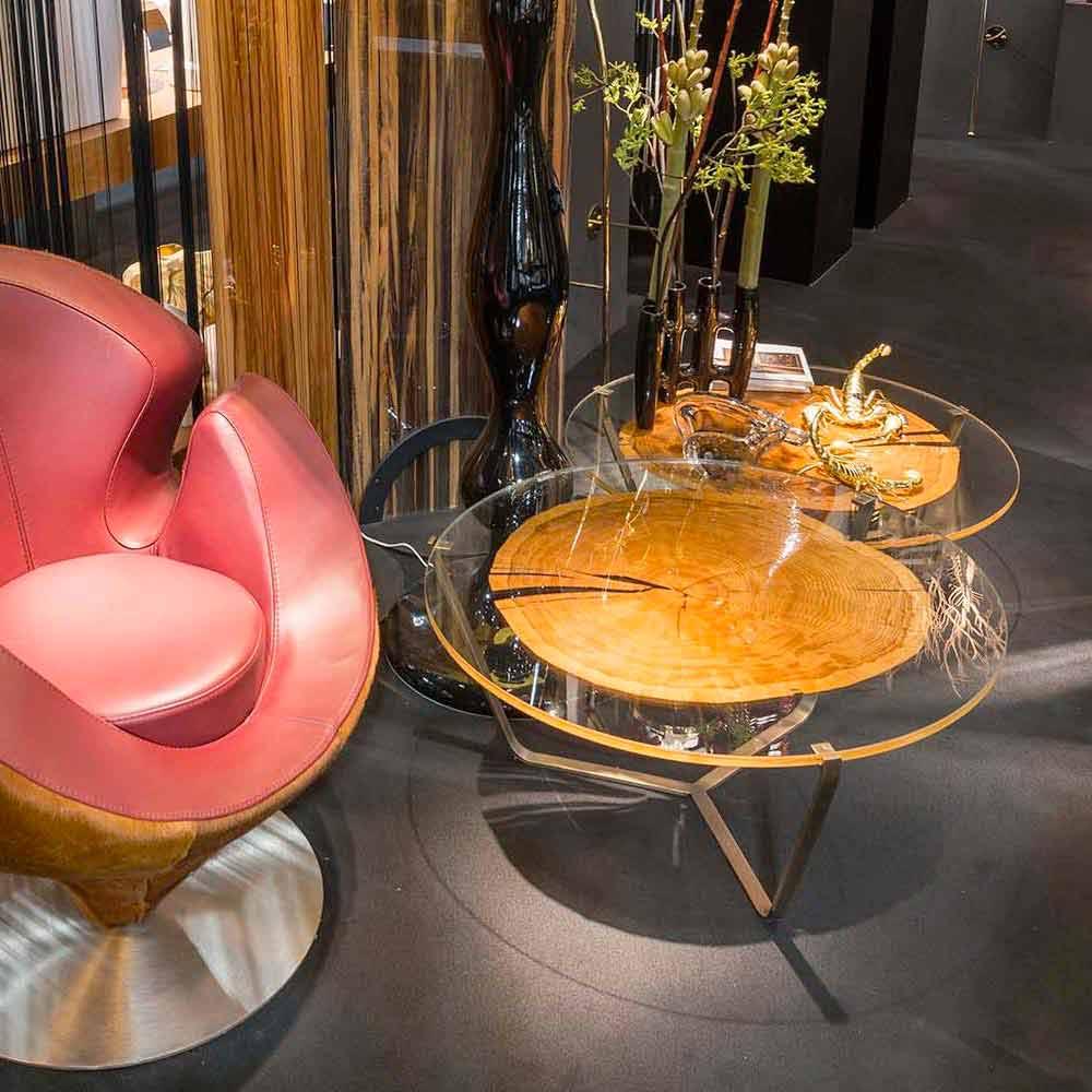 table haute caf moderne avec plateau en verre et bois bigo 1. Black Bedroom Furniture Sets. Home Design Ideas