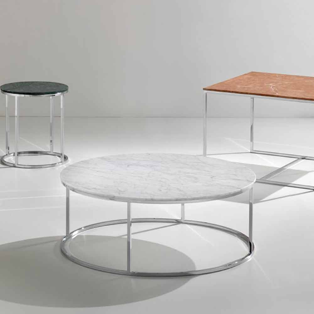 table basse de design en marbre blanc carrara avec base chrom e zeus. Black Bedroom Furniture Sets. Home Design Ideas