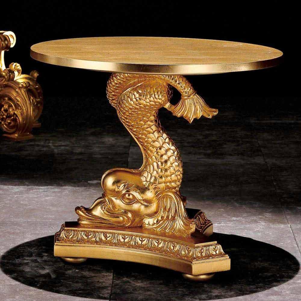 Table basse de salon classique en bois massif sculptè à main, Ciro