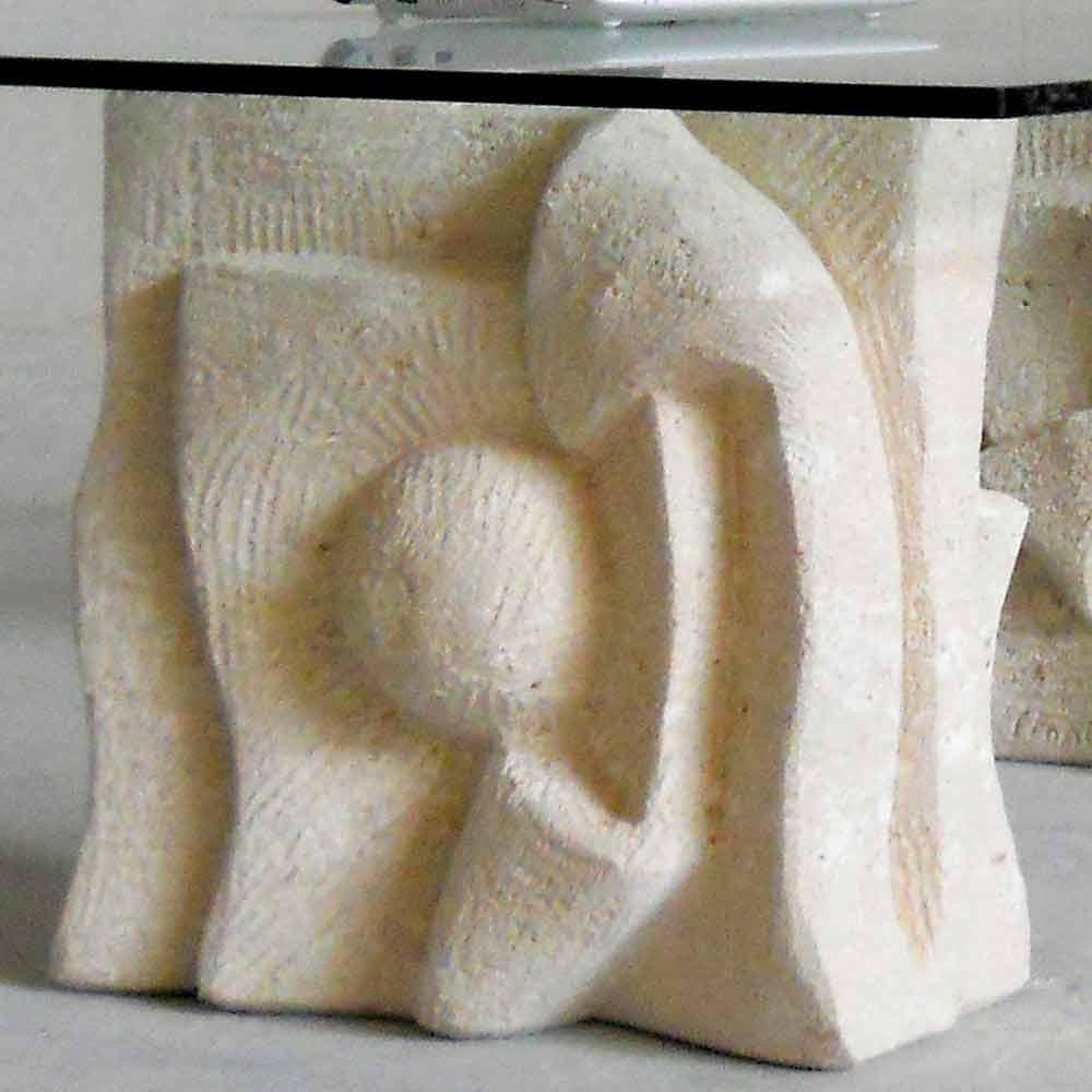 Table basse en pierre naturelle de vicenza et cristal priamo s - Table basse en pierre naturelle ...