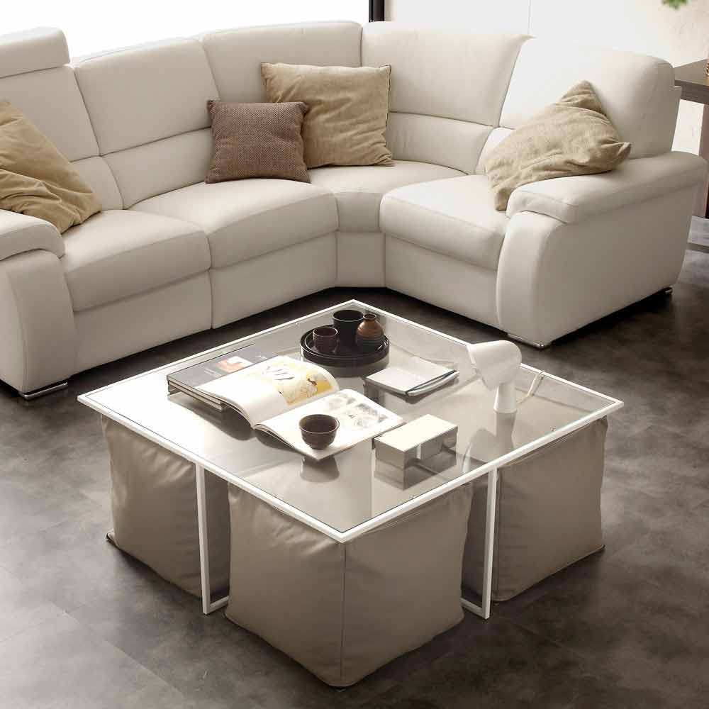table basse de salon en verre lula fournie avec 4 poufs en cuir cologique. Black Bedroom Furniture Sets. Home Design Ideas