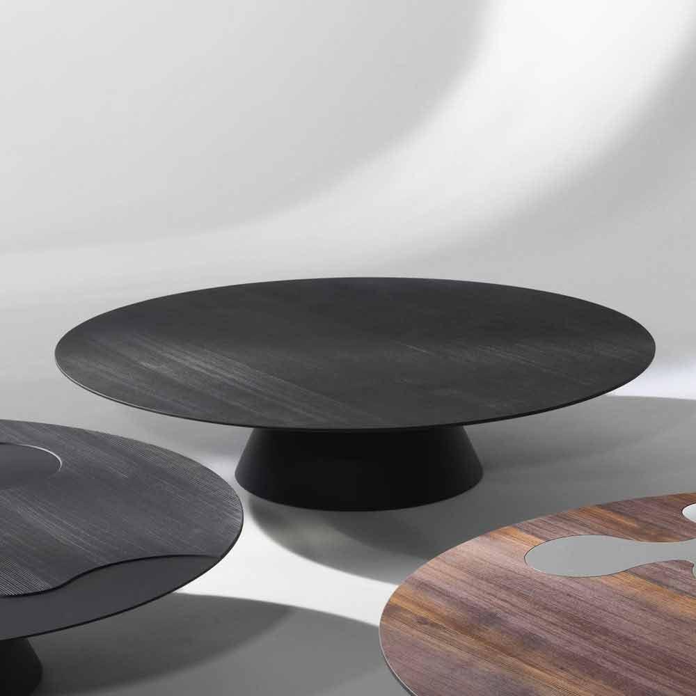 table basse de salon moderne en bois larice laqu noir giglio. Black Bedroom Furniture Sets. Home Design Ideas