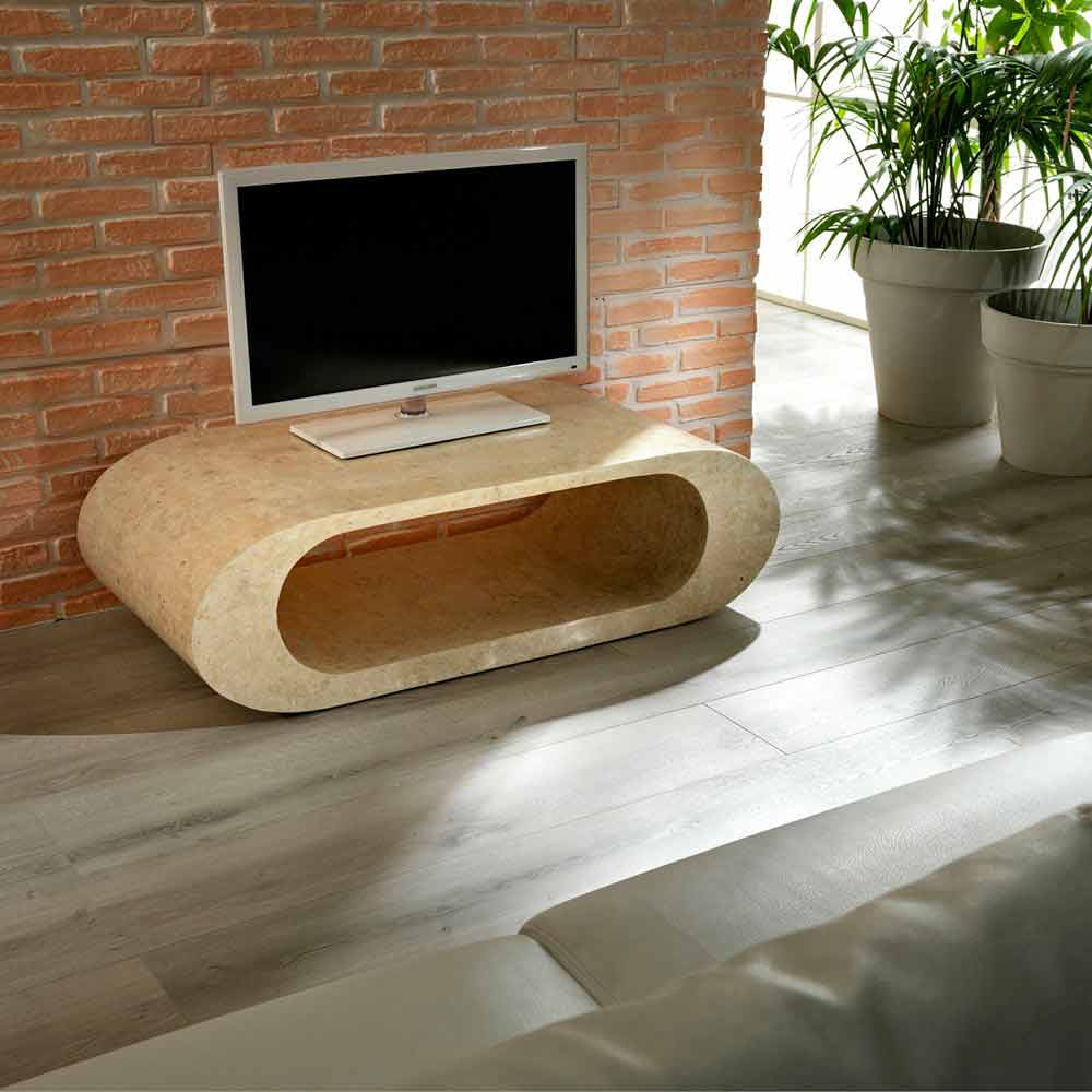Table basse meuble TV en pierre fossile grise
