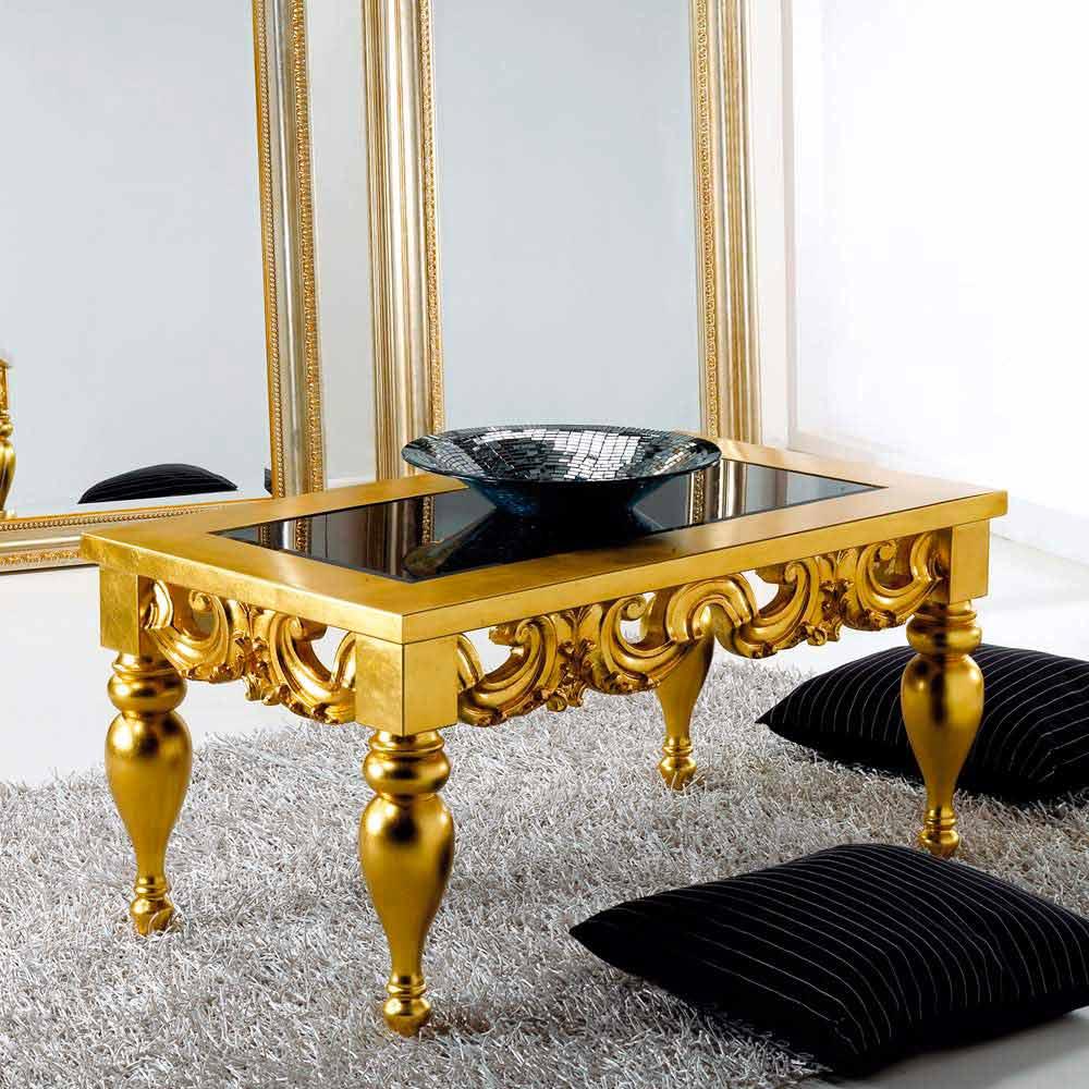 Table basse de salon design classique en bois Lof finissage or