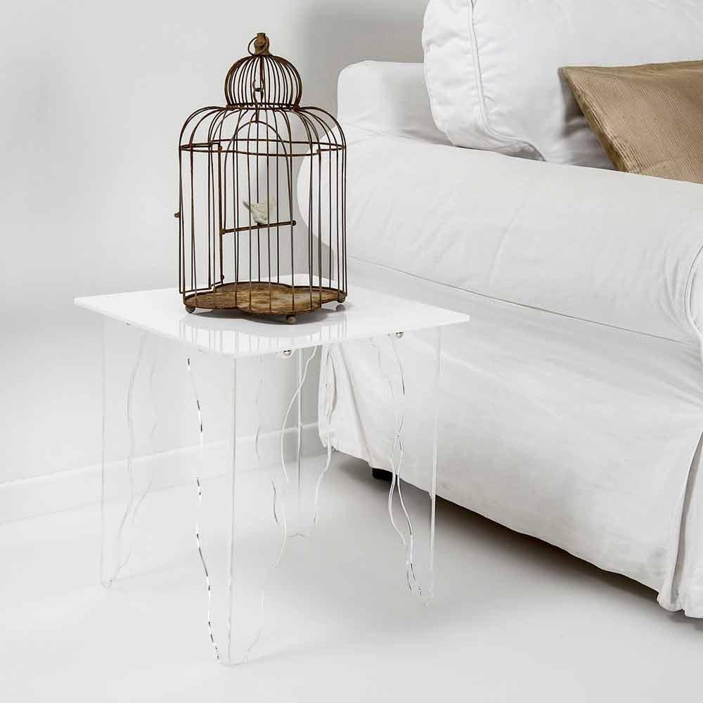 Table d 39 appoint en cristal acrylique blanc 40x40cm morita tables basses modernes viadurini - Table basse acrylique ...