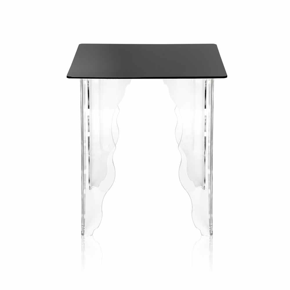 Table d 39 appoint en cristal acrylique noir 40x40cm morita tables basses modernes viadurini - Table basse acrylique ...