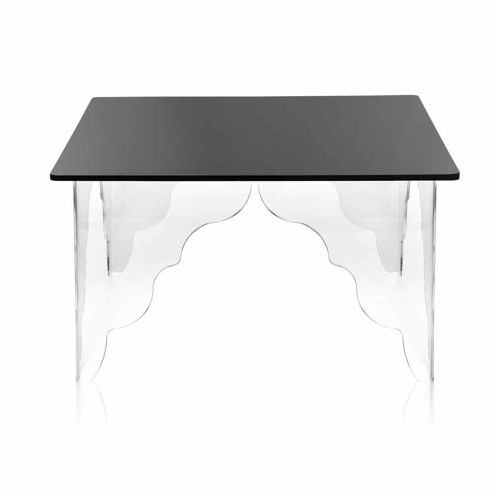 table d 39 appoint en cristal acrylique noir 60x60cm morita tables basses modernes viadurini. Black Bedroom Furniture Sets. Home Design Ideas