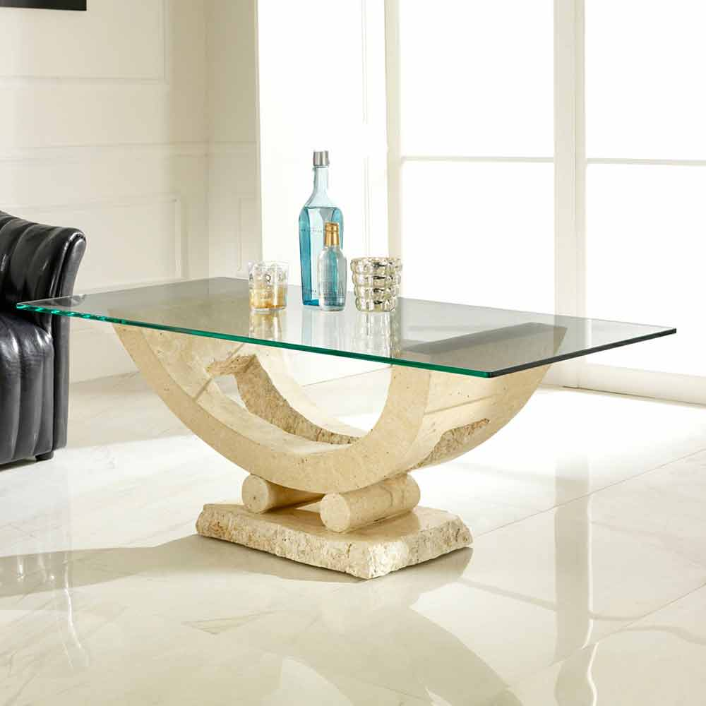 table basse moderne en pierre fossile meg. Black Bedroom Furniture Sets. Home Design Ideas