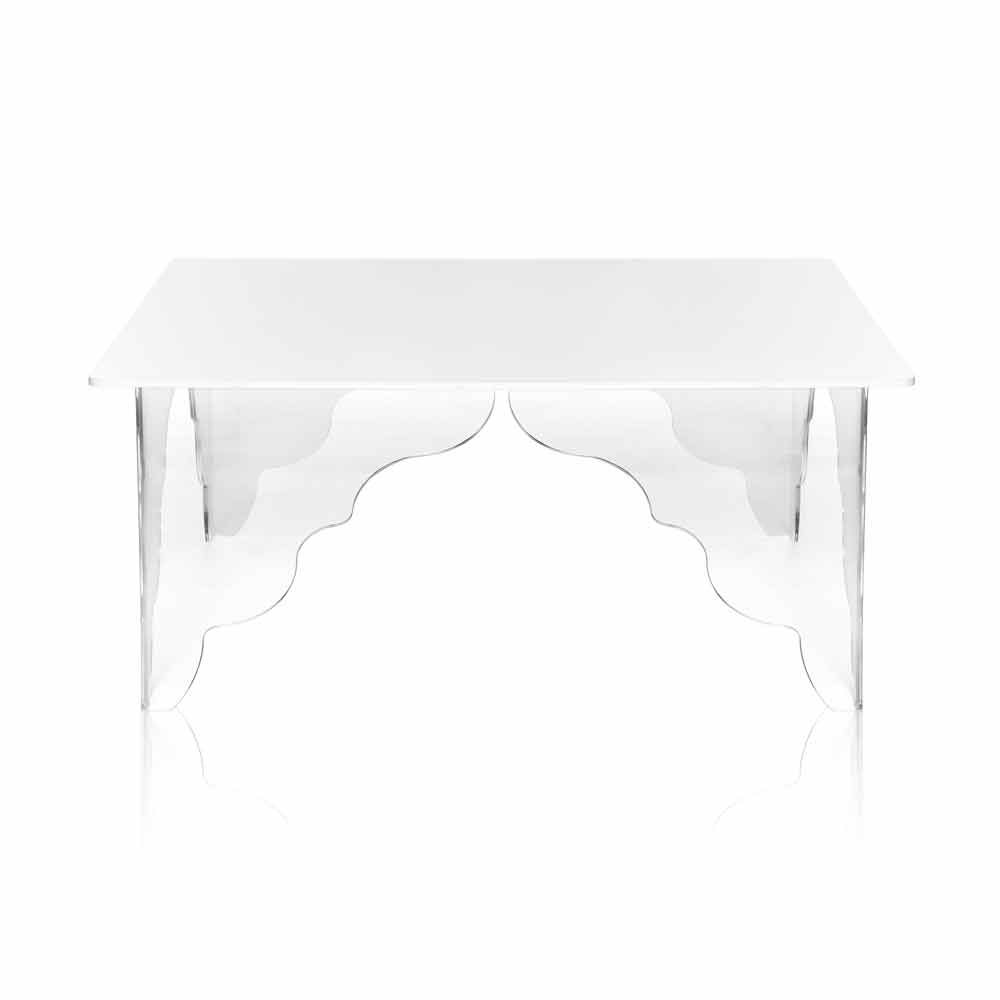 Table d 39 appoint rectangulaire en cristal acrylique blanc morita tables basses modernes viadurini - Table basse acrylique ...