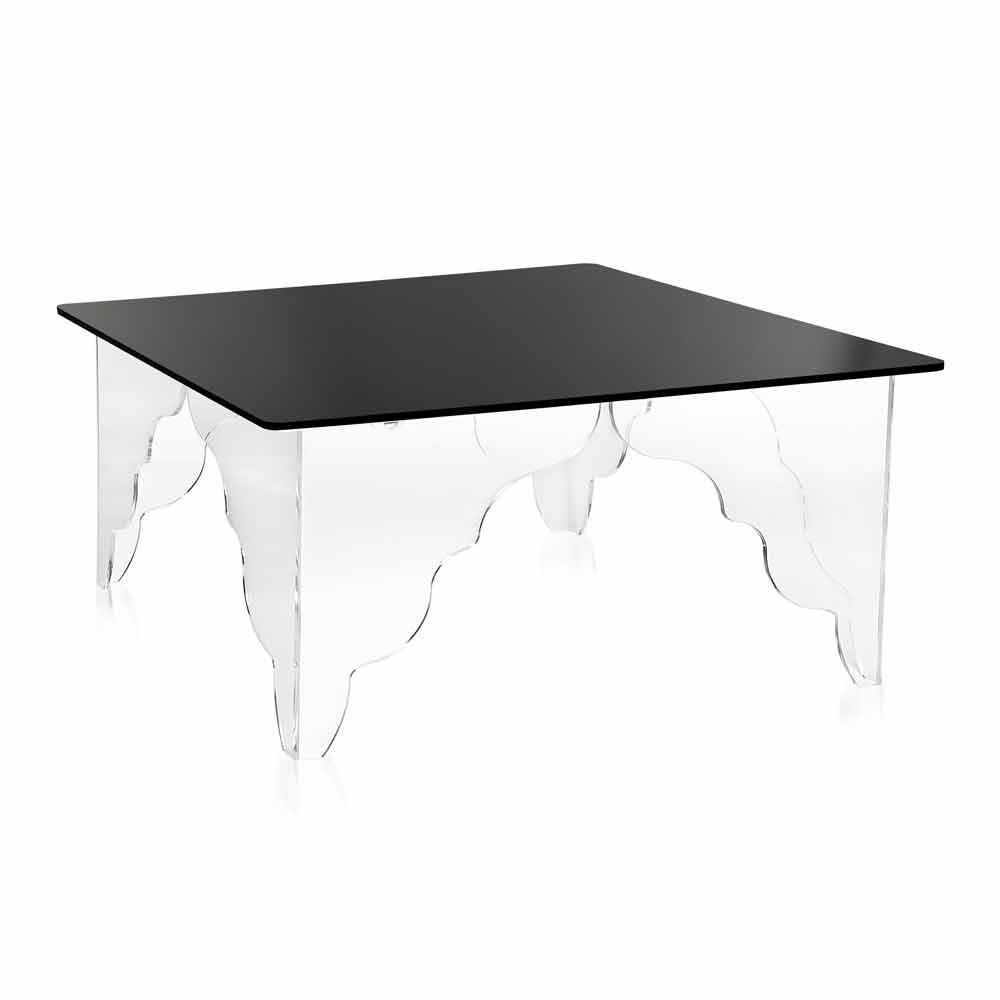 table d 39 appoint rectangulaire en cristal acrylique noir morita tables basses modernes viadurini. Black Bedroom Furniture Sets. Home Design Ideas