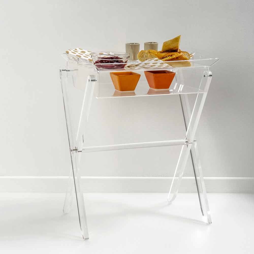 table d 39 appoint nourriture transparente olivia faite en. Black Bedroom Furniture Sets. Home Design Ideas