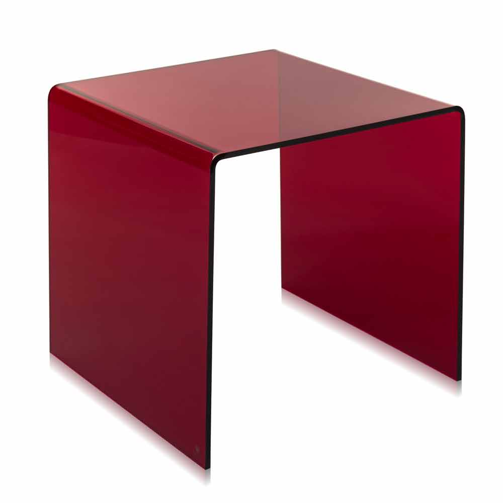 Table d 39 appoint rouge moderne 50x50cm terry big faite en for Table d appoint moderne