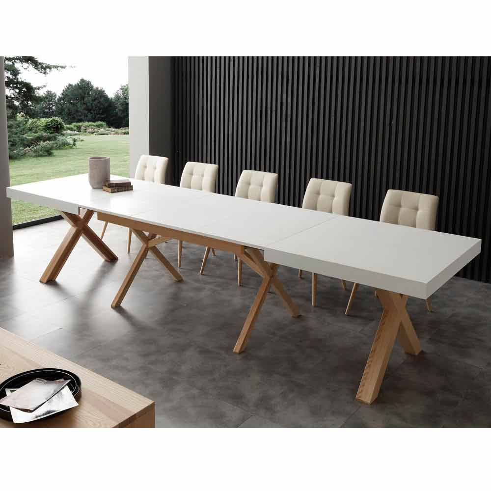 table extensible de salle manger blanche en bois massif rico. Black Bedroom Furniture Sets. Home Design Ideas