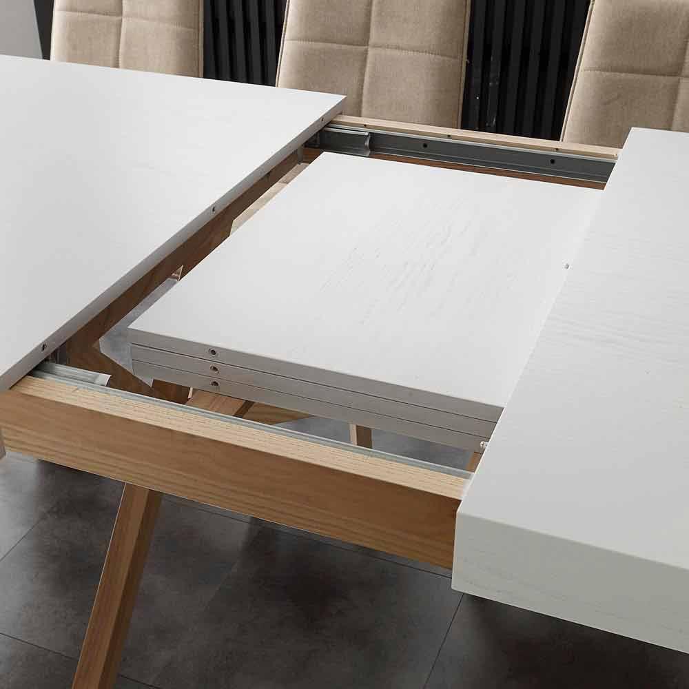 Table extensible de salle manger blanche en bois massif rico for Table salle a manger extensible blanche