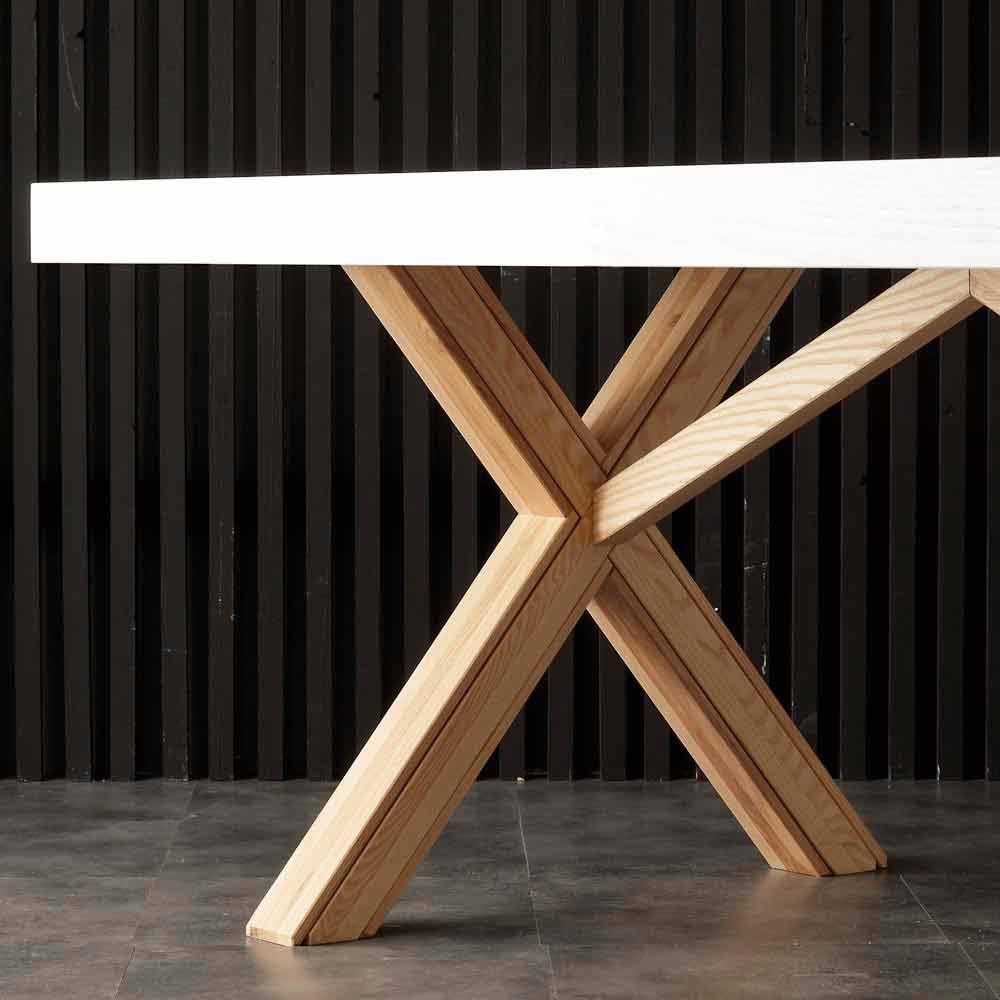 Table extensible de salle à manger blanche en bois massif Rico