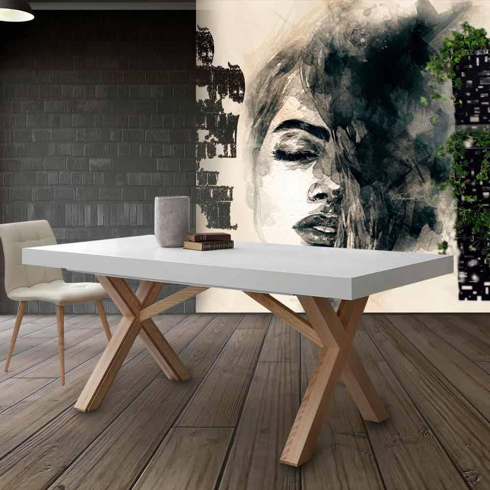 Table extensible de salle manger blanche en bois massif rico - Salle a manger blanche en bois ...