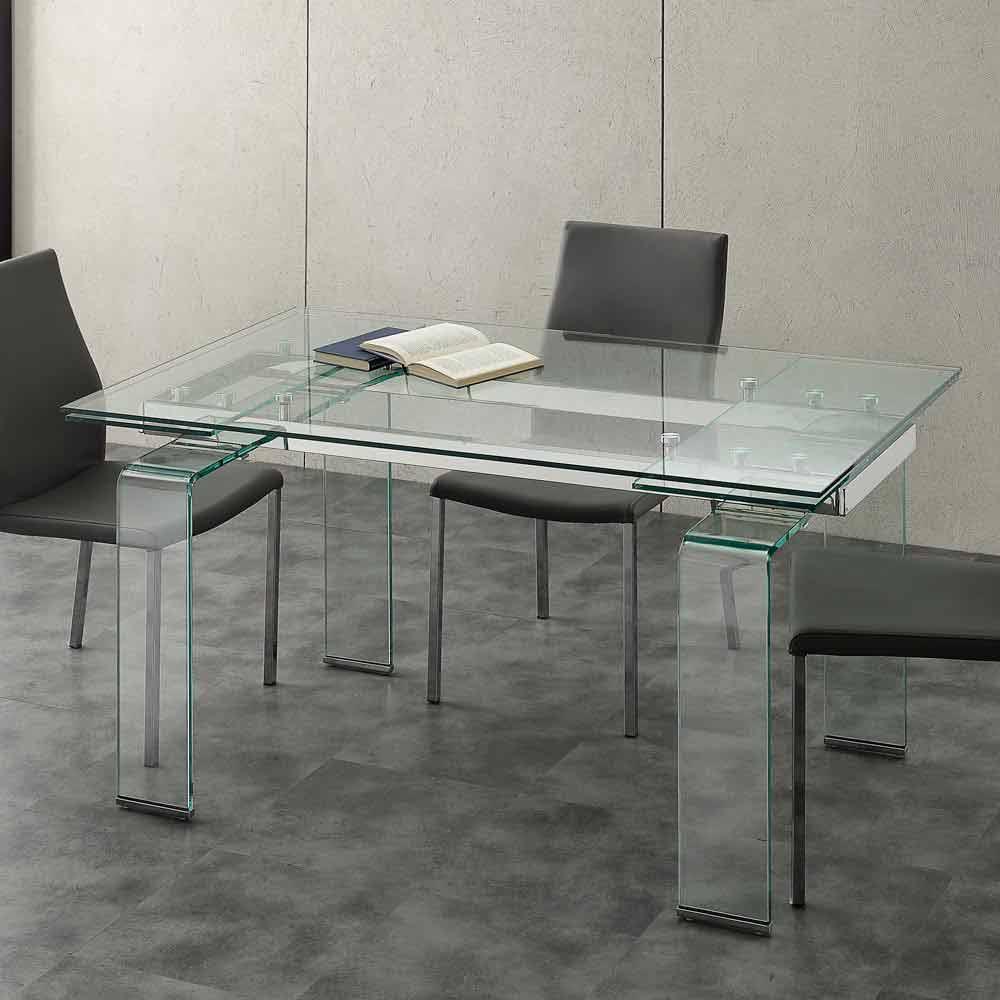 Table extensible avec plateau en verre tremp lord - Plateau de table en verre trempe ...