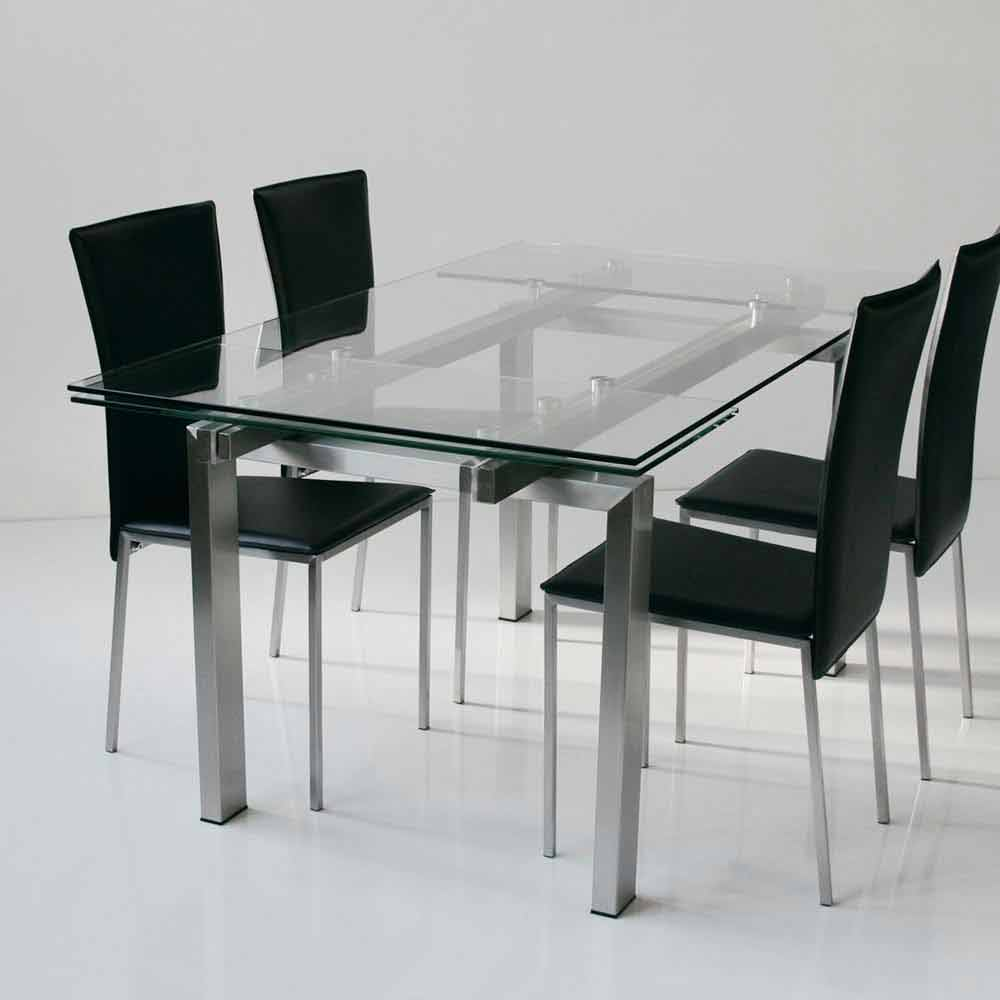 table extensible avec plateau en verre tremp transparent lily. Black Bedroom Furniture Sets. Home Design Ideas