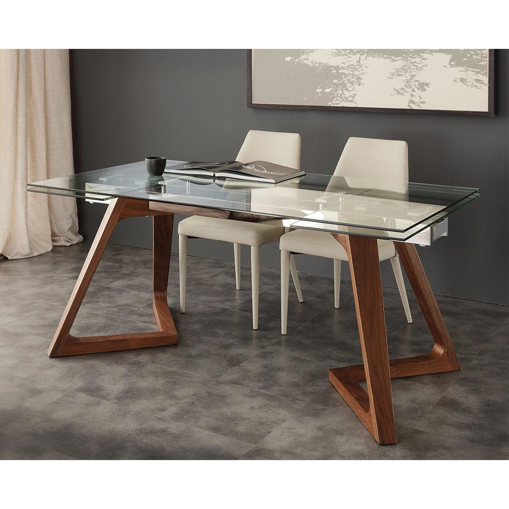 Table de salle à manger extensible avec palteau en verre trempé Iside