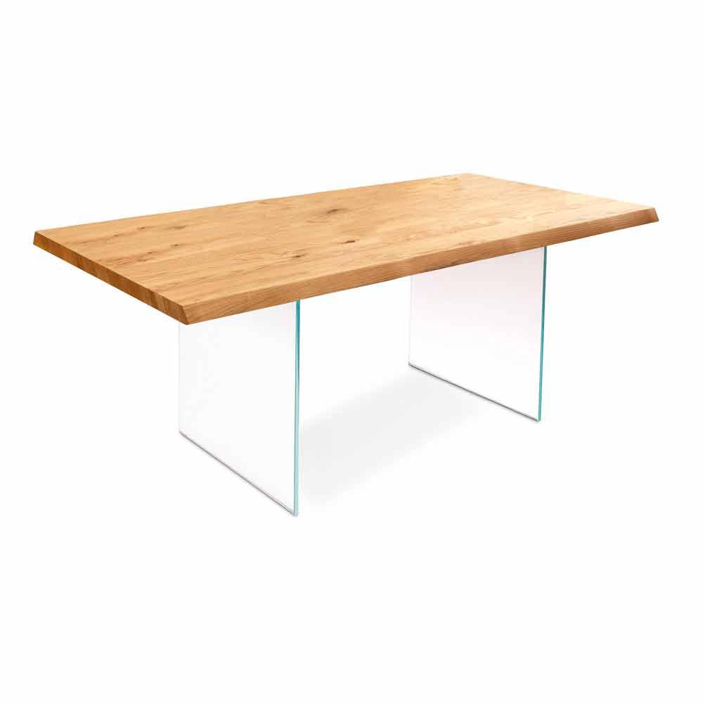 Table Extensible Chene: Table Extensible En Plaqué Chêne Avec Les Jambes En Verre