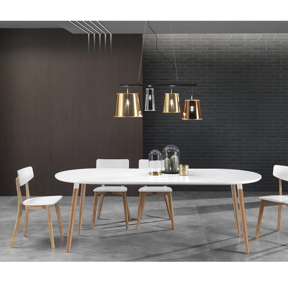 Table Salle A Manger Blanc Plateau Bois : Table de salle à manger extensible en bois plateau blanc ian