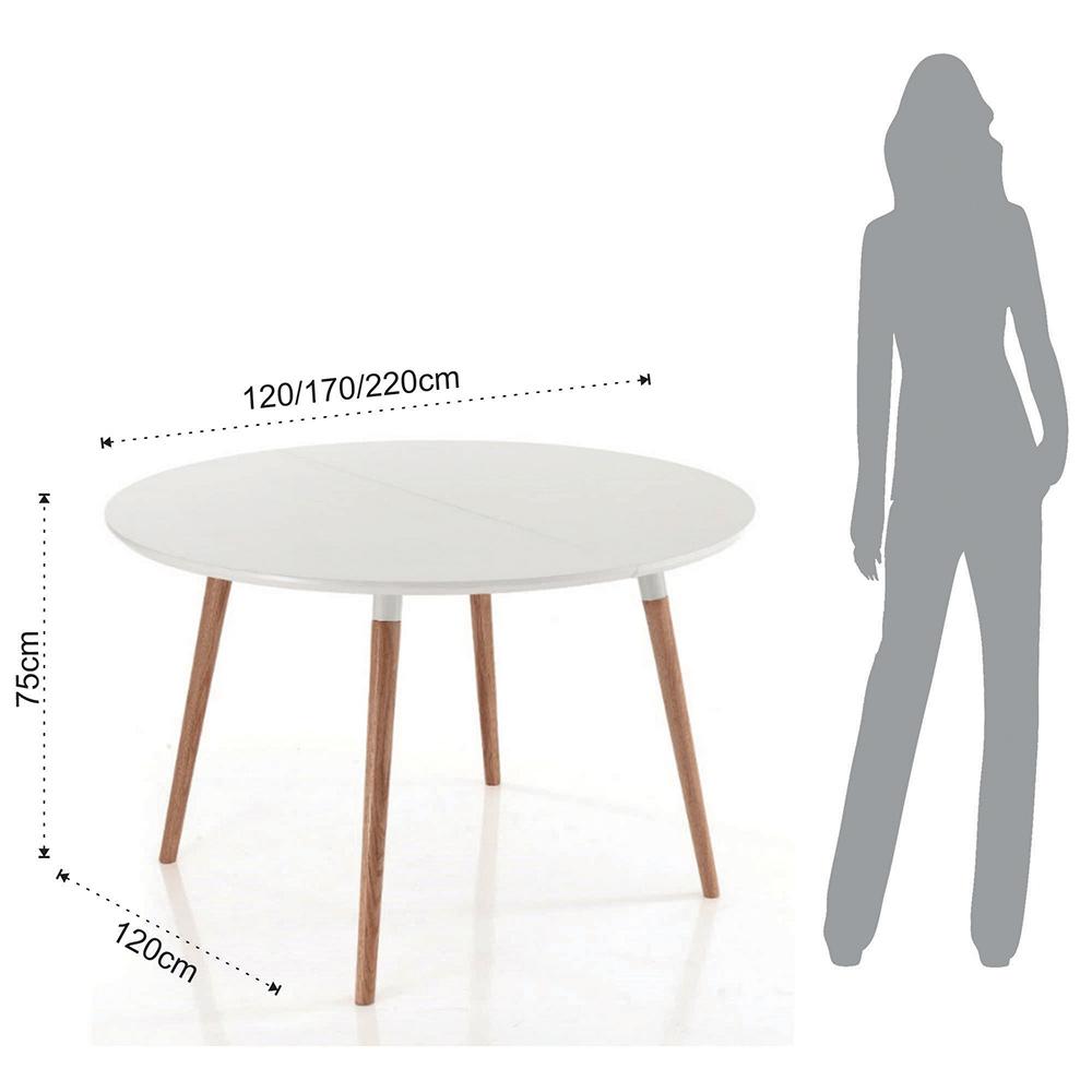 Table de salle manger extensible en bois plateau blanc ian for Table de salle a manger extensible bois