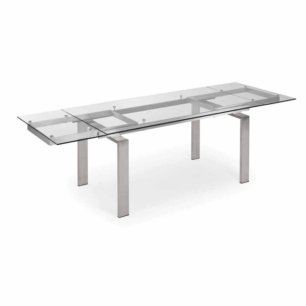 Table extensible en verre et acier judo de design moderne for Table en verre extensible