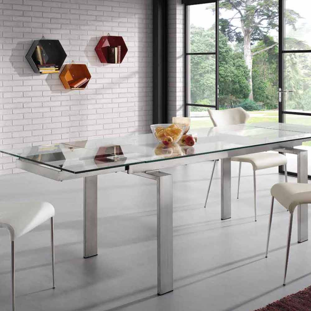 Table de cuisine design table en verre noir carline for Table cuisine moderne design