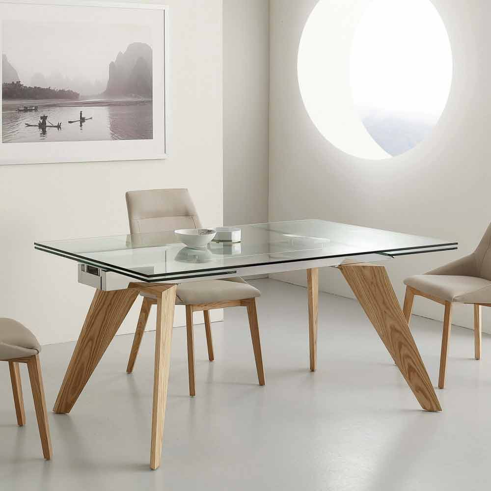 Table extensible michigan en verre inox et bois massif for Table en verre design salle a manger